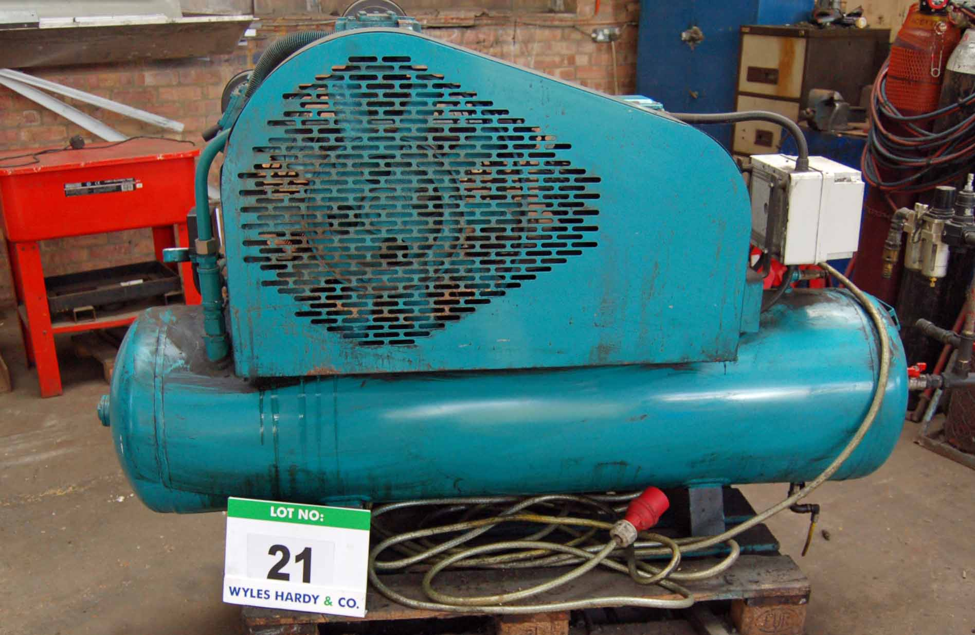 Lot 21 - A Triple Cylinder Receiver mounted Air Compressor with REDNAL 272-Litre capacity Air Receiver