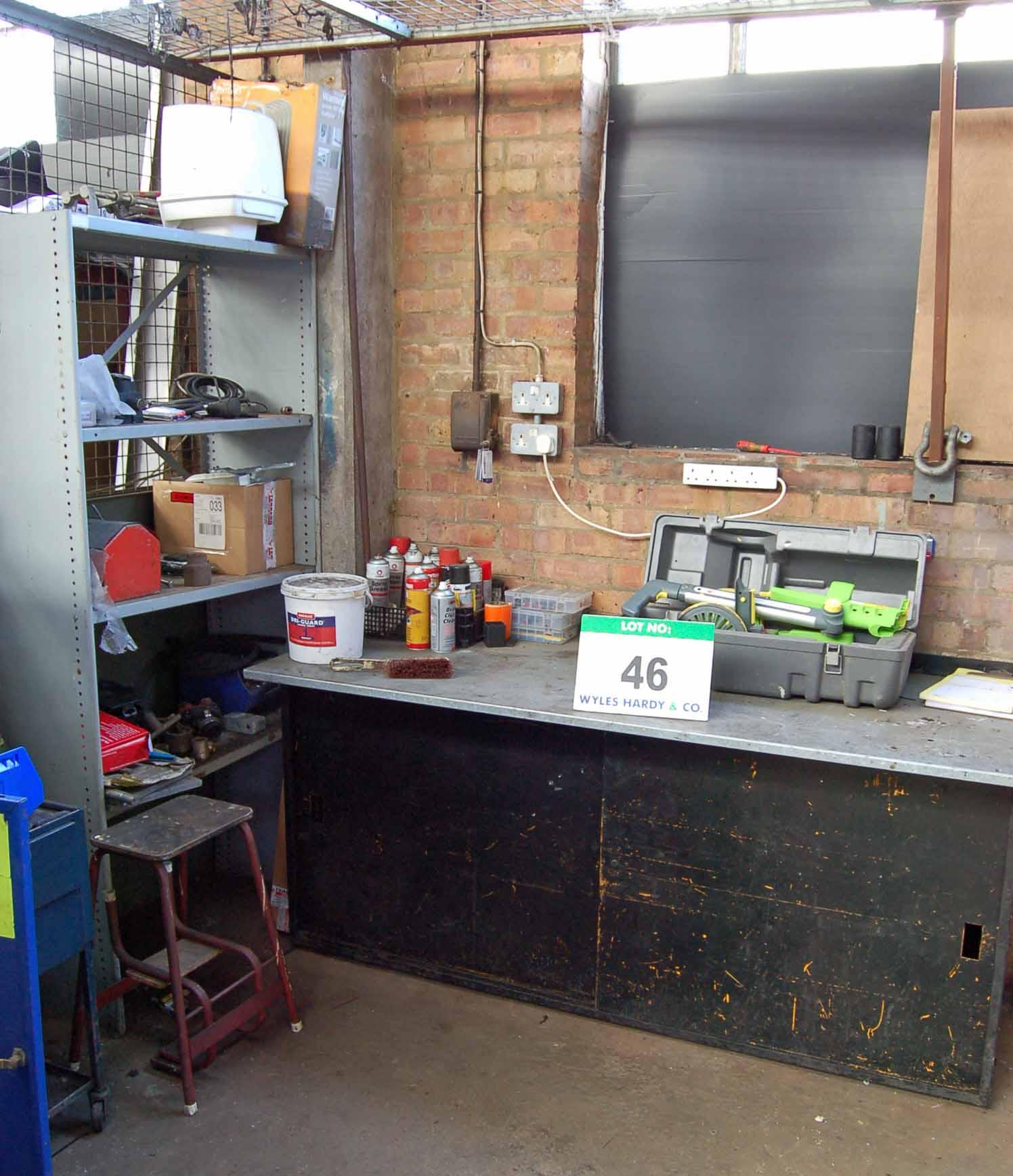 Lot 46 - A Grey-Blue Steel Cabinet, A Blue Steel 2-Drawer Trolley, A Grey Steel 3-Tier Rack, A Black Steel