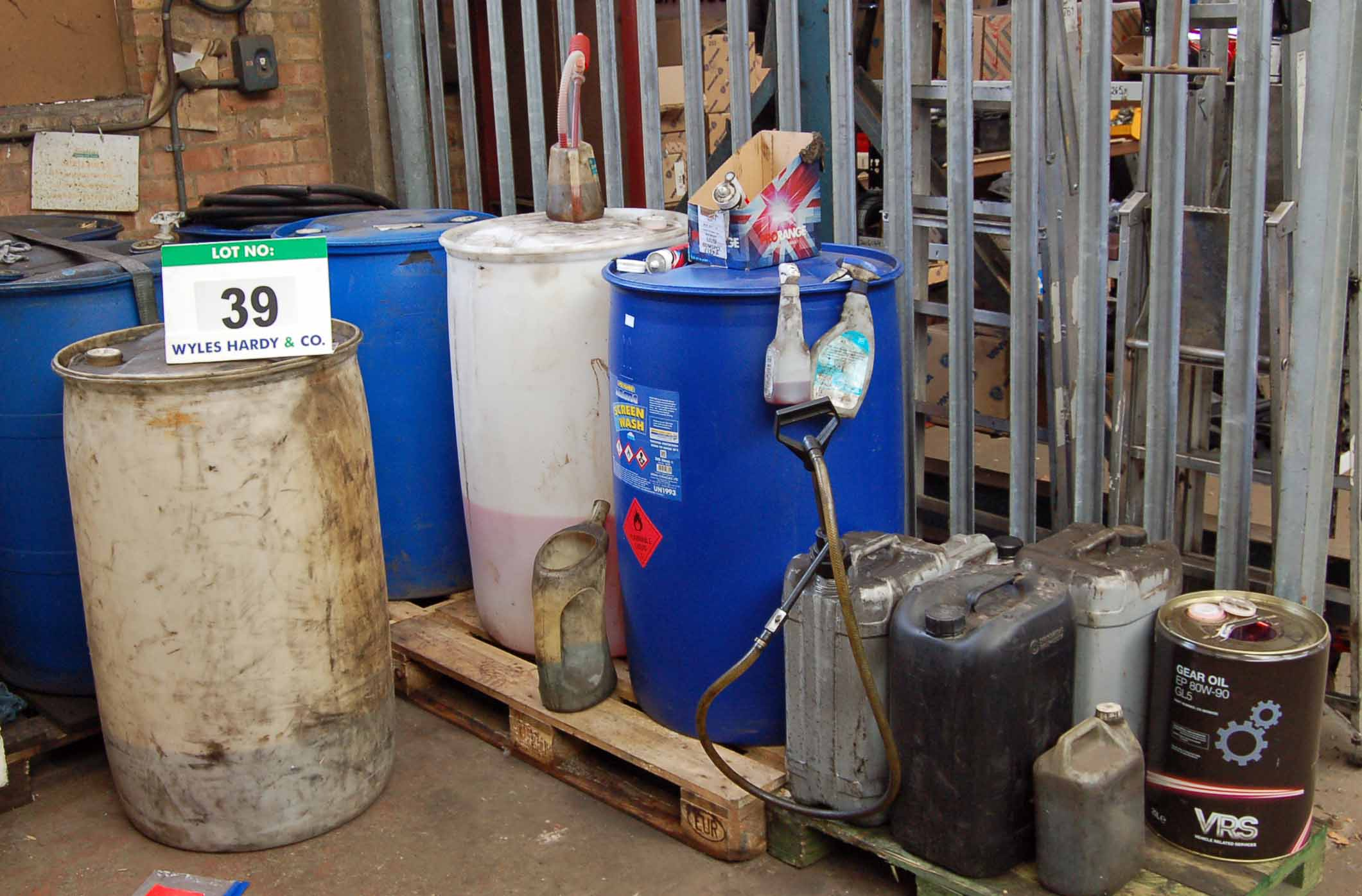 Lot 39 - Seven Various Plastic Drums (205-Litres) with Contents each including Screen Wash and Five Various
