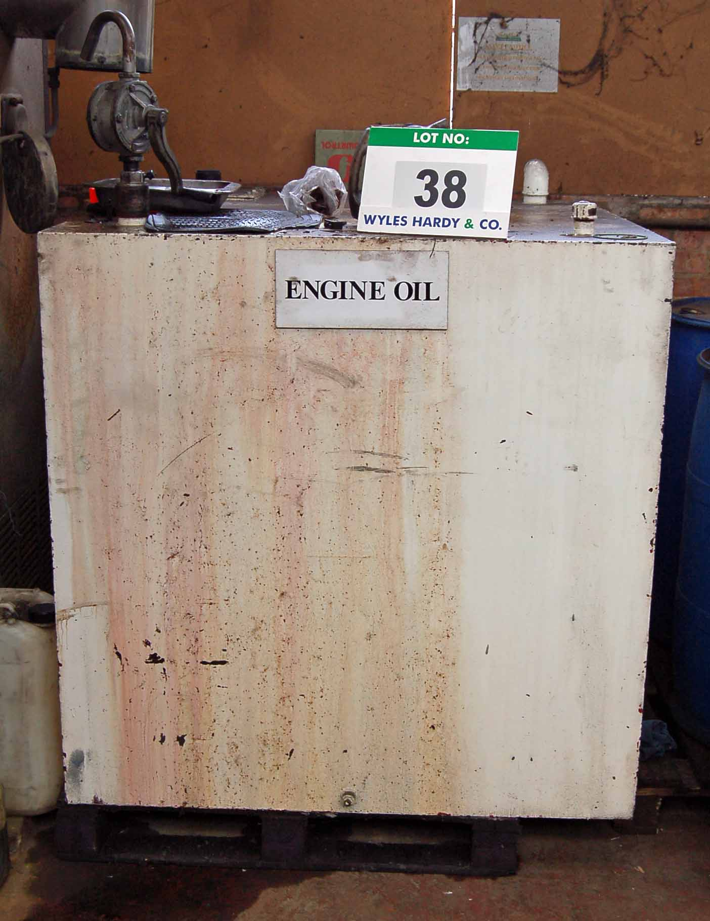 Lot 38 - A Mild Steel Cubed Engine Oil Tank, 1800-Litre capacity, with Contents, Approx. 400-Litres) and Roof