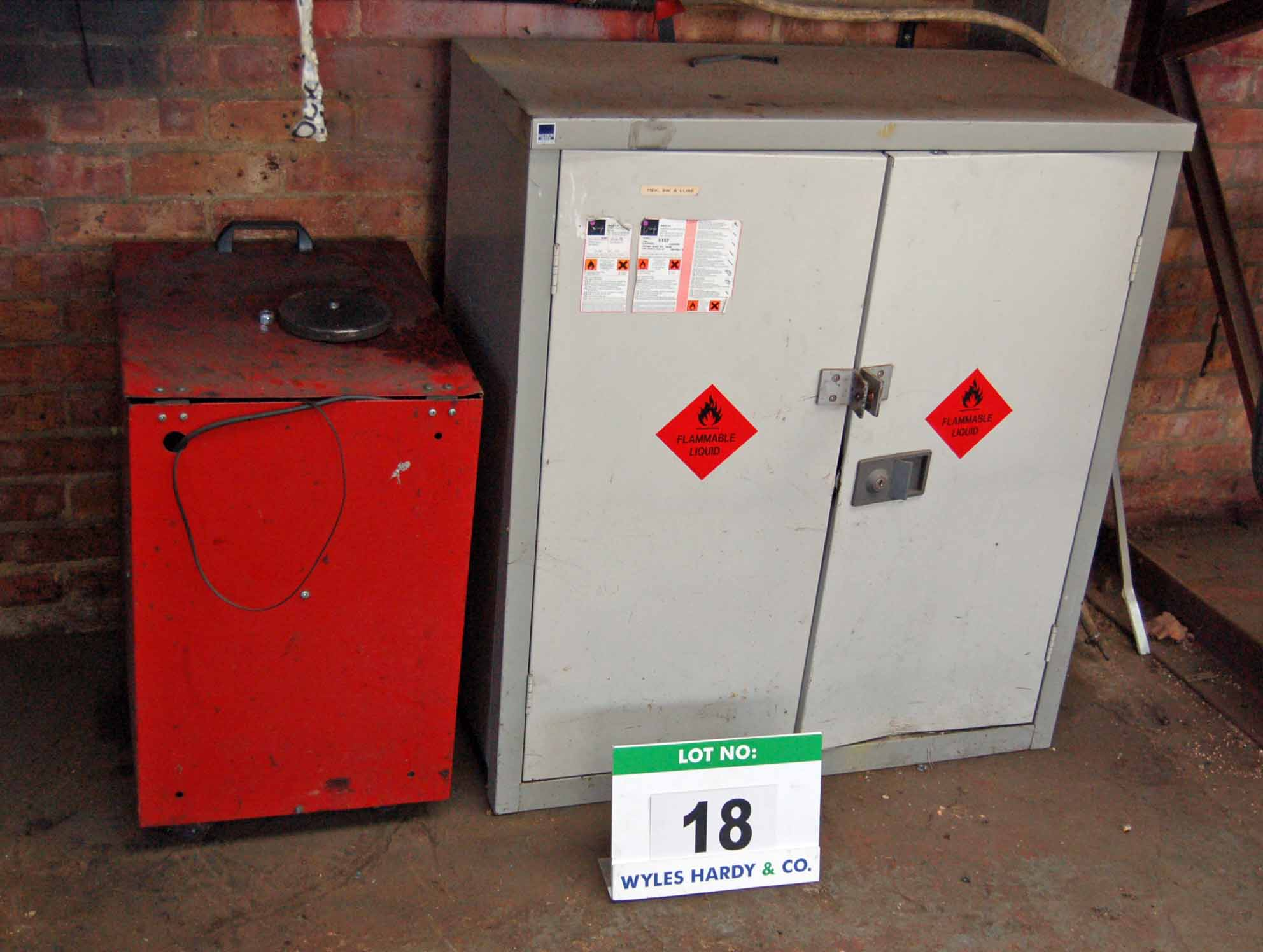 Lot 18 - A Grey Steel 2-Door Flammables Cabinet and A Red Steel Cabinet