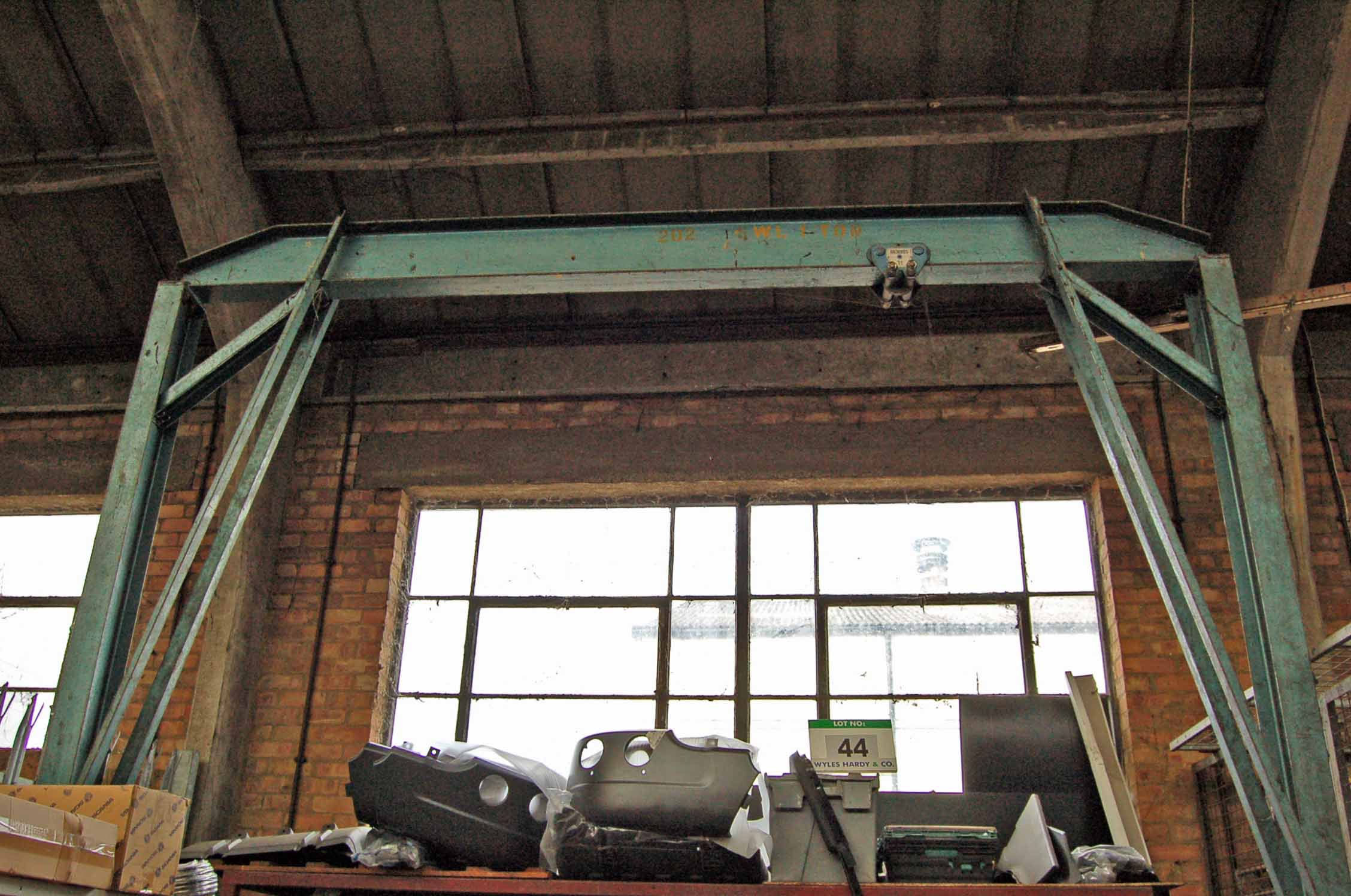 Lot 44 - A Mobile Steel A-Framed Overhead Crane, Approx. 2.5M Span, 3.8M Fall with MORRIS 1-Ton capacity