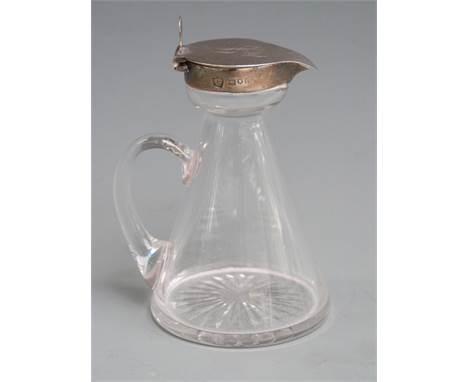 Edward VII hallmarked silver mounted cut glass whisky noggin, London 1904 makerJ & J Maxfield Ltd, height 11cm&nbsp