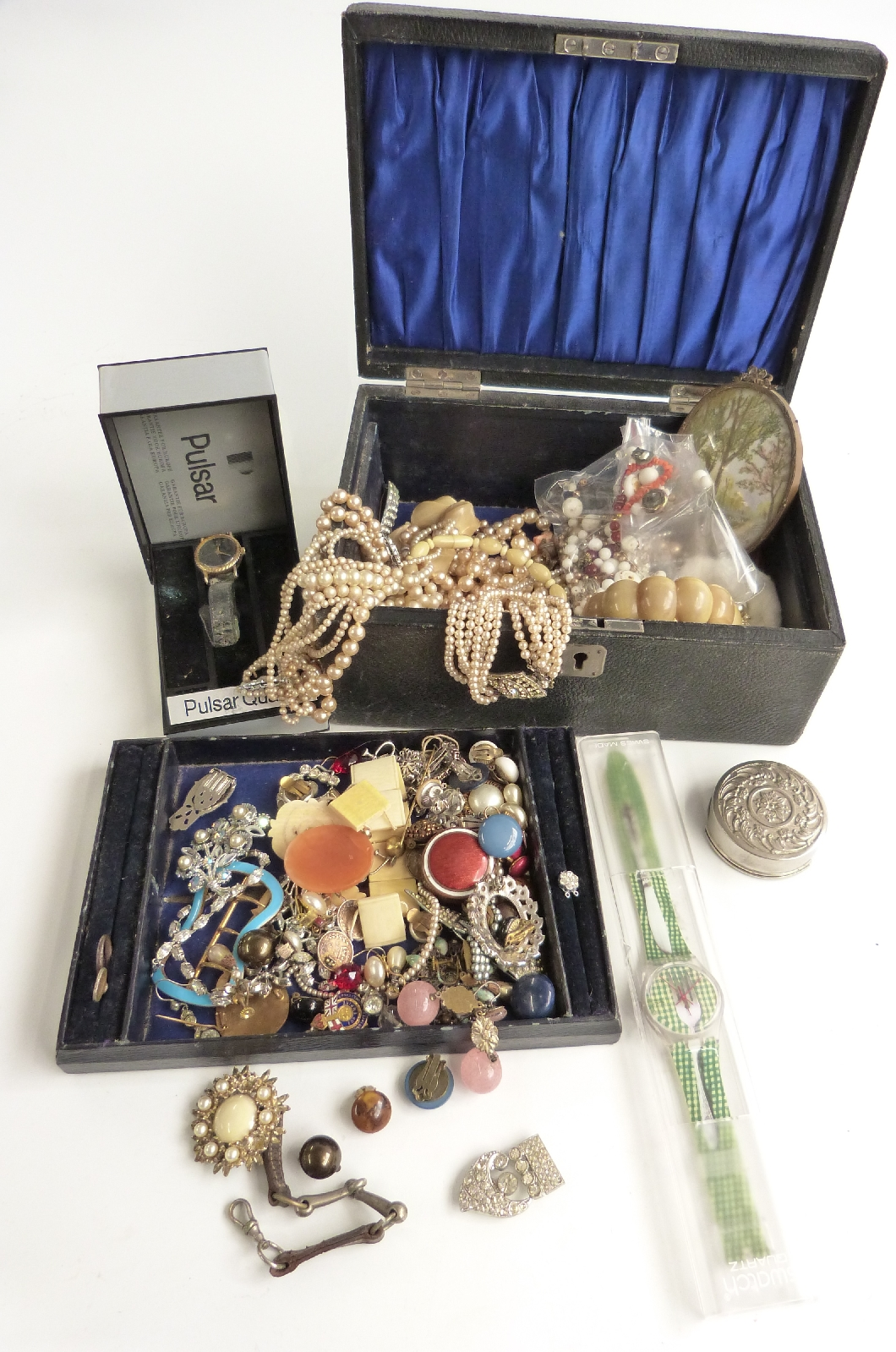 Lot 65 - A collection of costume jewellery including beads, and paste, brooches, Swatch watch, vintage