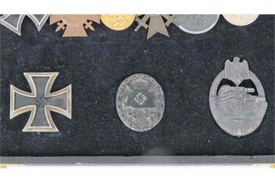 A WWI and WWII German Panzer medal group including Wound