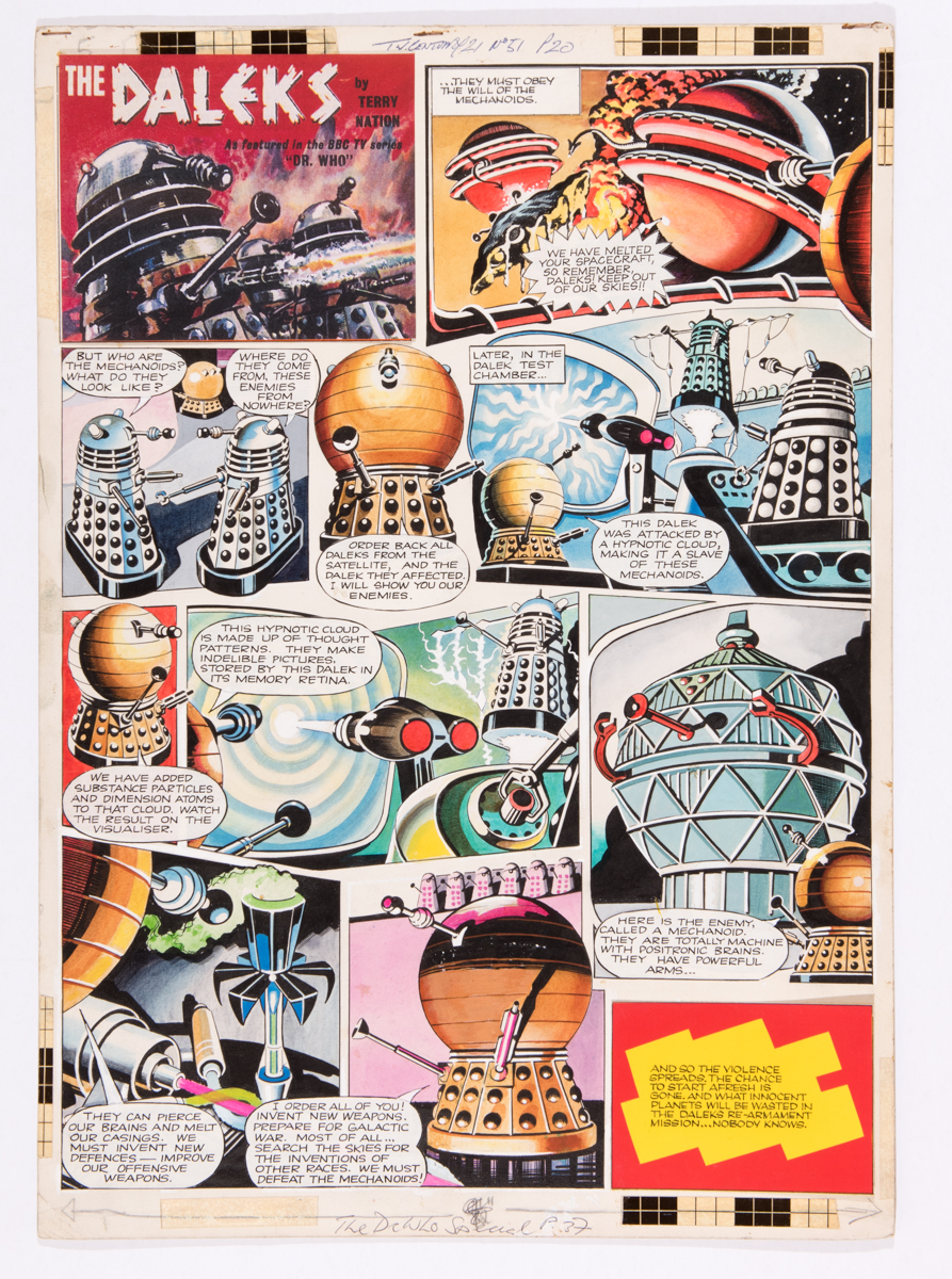 Lot 126 - Daleks original artwork (1965) by Ron Turner for TV Century 21 No 51. The violence spreads as the