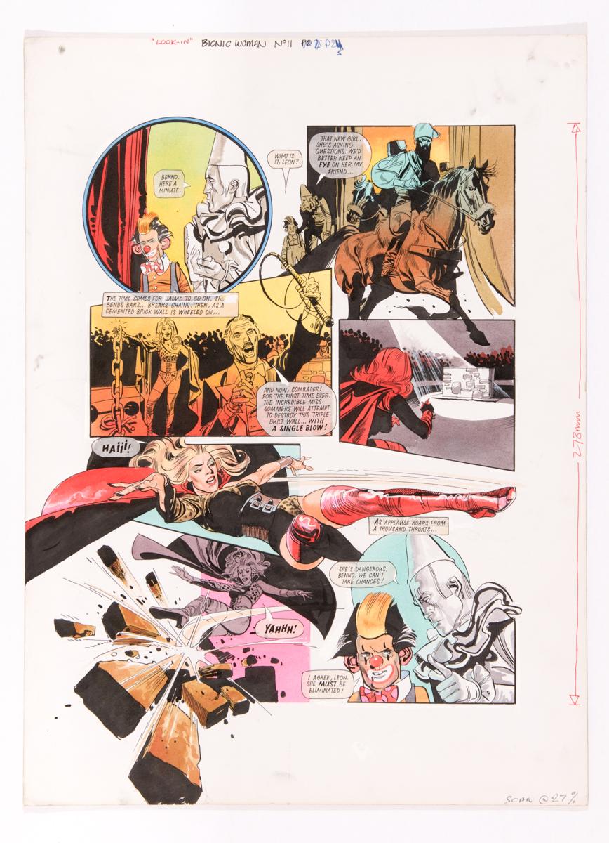 Lot 132 - Bionic Woman original artwork (1977) by John Burns for Look-in No 11. The Bionic Woman, Jaime
