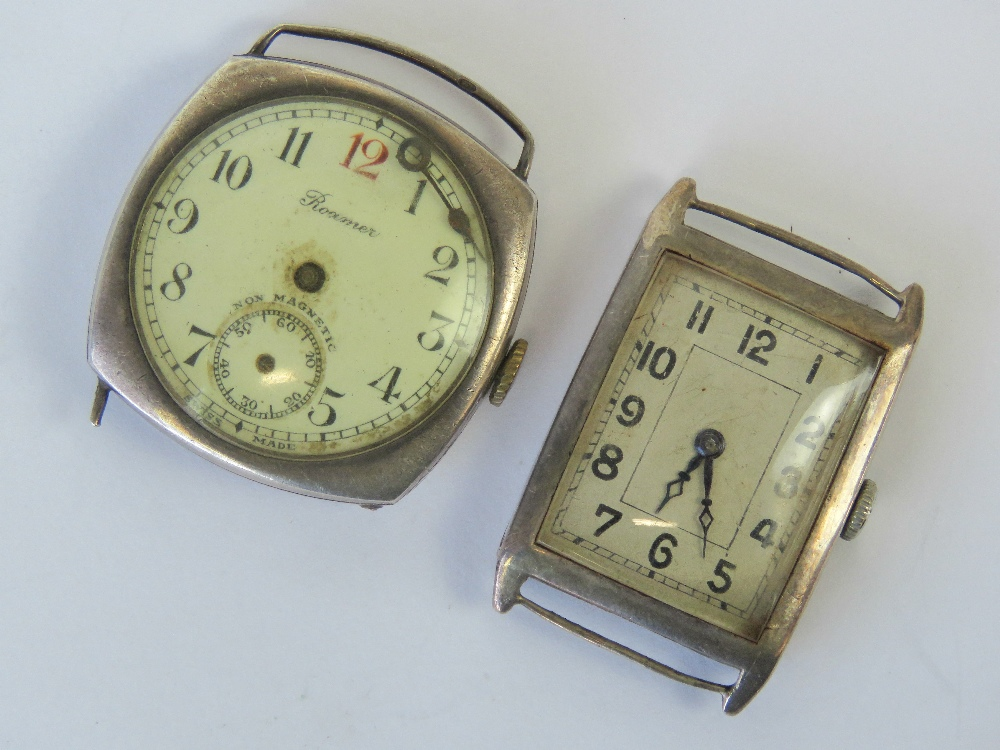 Lot 353 - Two silver mens manual watches; one of r