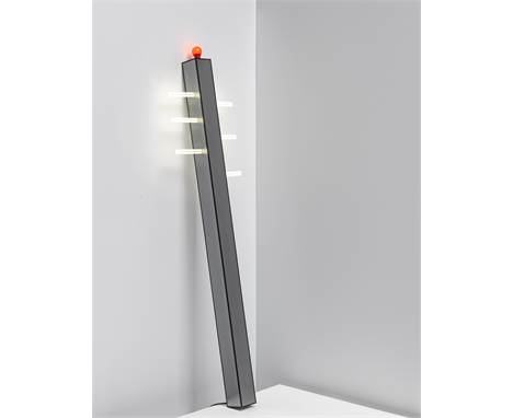 Ettore Sottsass JR.'Gala' standard lamp, from the Mobili lunghi series, 2000Painted laminated-wood. 200 x 12 x 12 cmProduced