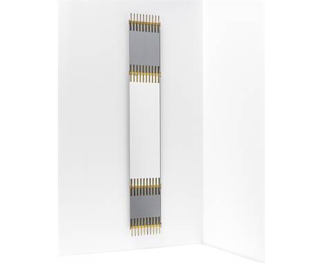 Ettore Sottsass JR.Rare mirror, circa 1957Mirrored glass, coloured mirrored glass, brass.194.5 x 30.5 x 3 cm Manufactured by
