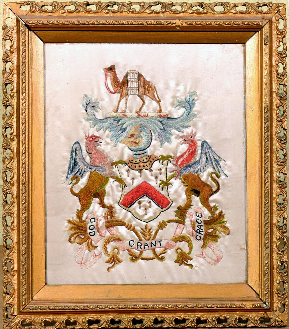 Lot 419 - A late 19c/early 20c silkwork Masonic Coat of Arms, God Grant Grace, for the Worshipful Company of