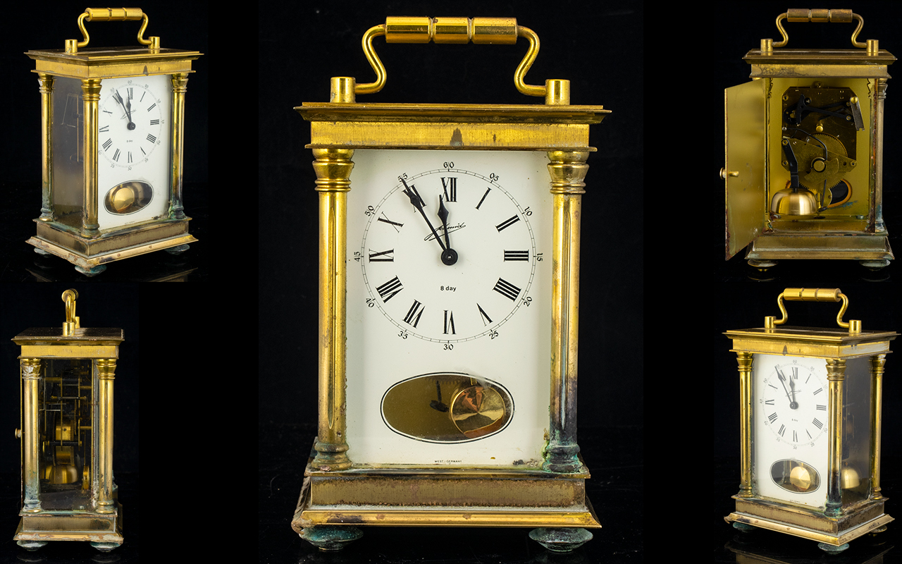 Lot 1172 - A Brass Cased Carriage Clock Comprising