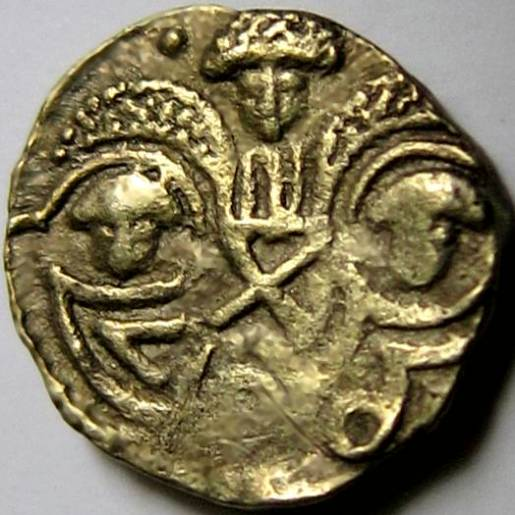 Lot 1 - Anglo Saxon, GOLD THRYMSA [c.655-675]. Two Emperors type, Post Crondall, Helmeted bust right. Rev.