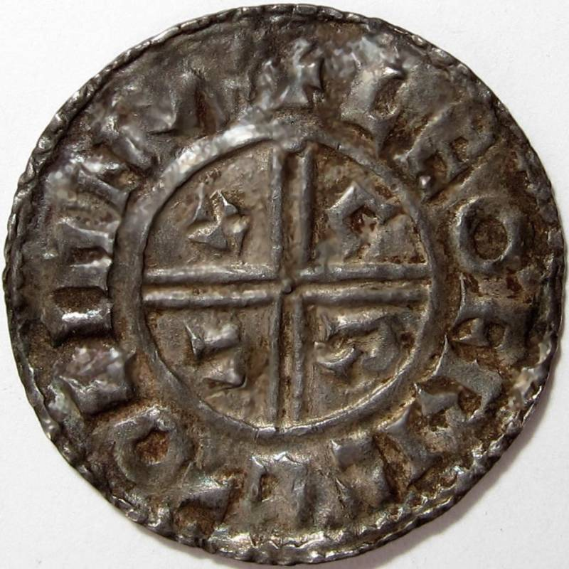 Lot 60 - Anglo Saxon, AETHELRED 11 [978-1016] PENNY. Crux type – Lympne mint – moneyer – Leofric. 1.43g. Obv.