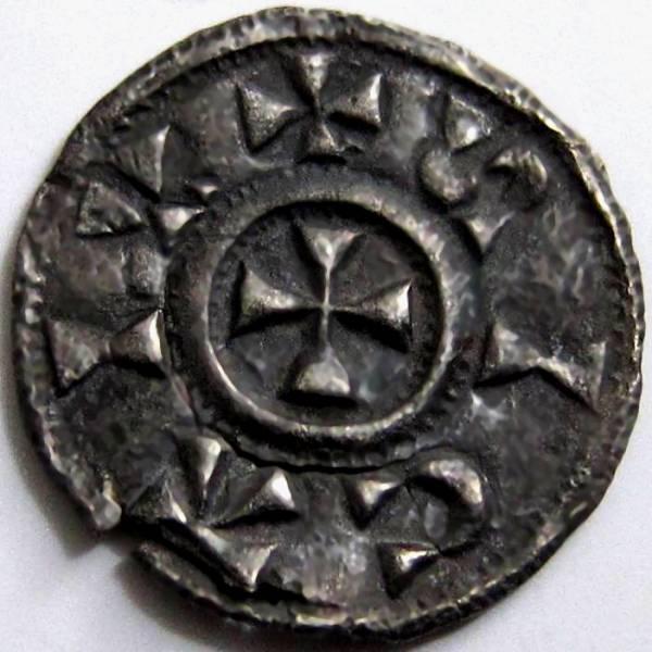 Lot 56 - Viking, Danish East Anglia, ST EDMUND [885-915] PENNY. Memorial coinage – obv. alpha, rev. cross.