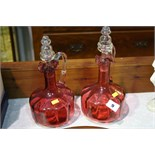 Pair of Cranberry decanters
