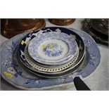 Various blue and white plates