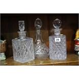 3 Cut Glass decanters