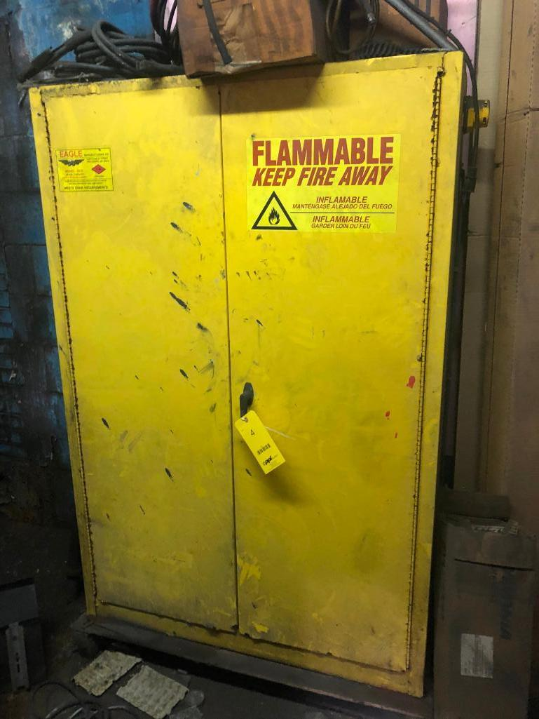 Lot 4 - LOT: 2 Door Flame Storage Cabinet with Contents