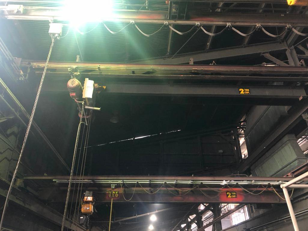 Lot 31 - #127 Wright 5 Ton Bridge Crane Approx. 25 ft. Span with Wright Hoist with Pendent Controls