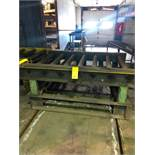 LOT: (2) 7 ft. Hand Transfers with 7 ft. of 40 in. Powered Roller Conveyor on 10 in. Centers