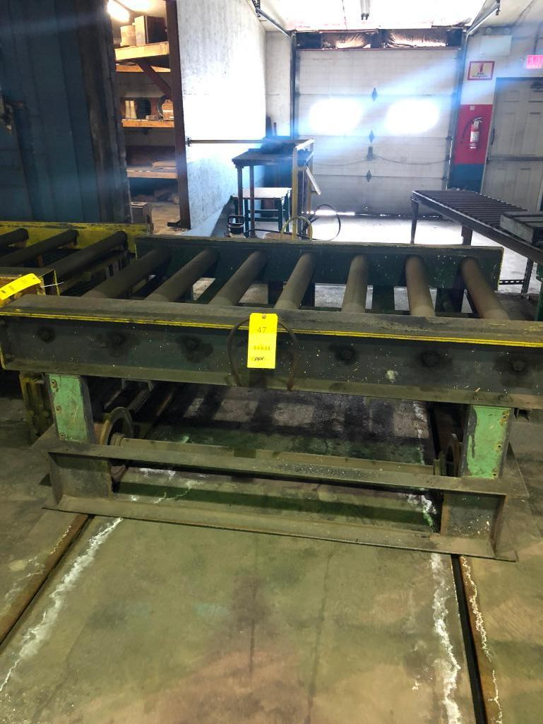 Lot 47 - LOT: (2) 7 ft. Hand Transfers with 7 ft. of 40 in. Powered Roller Conveyor on 10 in. Centers