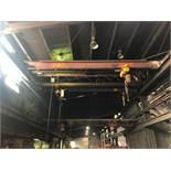 #128 Wright 3 Ton Bridge Crane Approx. 25 ft. Span with Harrington 3 Ton Electric Hoist with Pendent