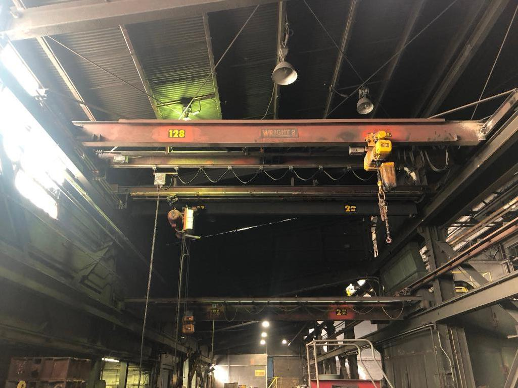 Lot 32 - #128 Wright 3 Ton Bridge Crane Approx. 25 ft. Span with Harrington 3 Ton Electric Hoist with Pendent