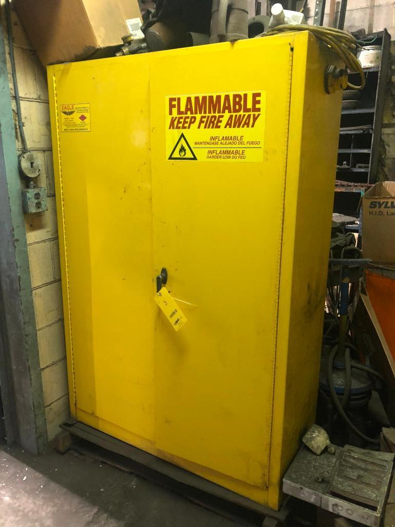 Lot 3 - LOT: 2 Door Flame Storage Cabinet with Contents