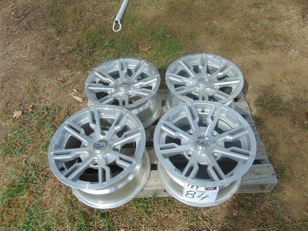Lot 84 - (2) 14x7 & (2) 14x8.5 Aluminum 4 Wheeler Rims
