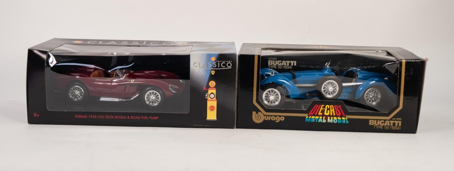 Lot 489 - BURAGO MINT AND BOXED 1:18 SCALE MODEL OF A BUGATTI TYPE 59 (1934) and SIMILAR CLASSICO MODEL OF A