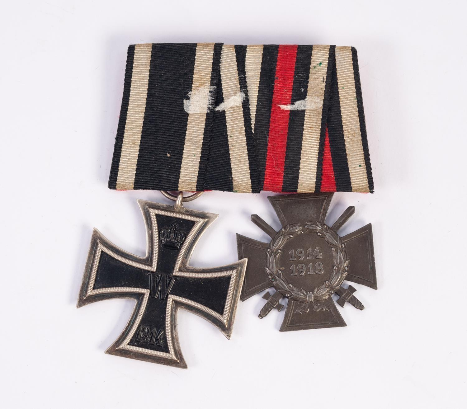 Lot 88 - GERMAN WORLD WAR I IRON CROSS SECOND CLASS 1914-18 with ribbon and a WAR MERIT CROSS 1914-18 with