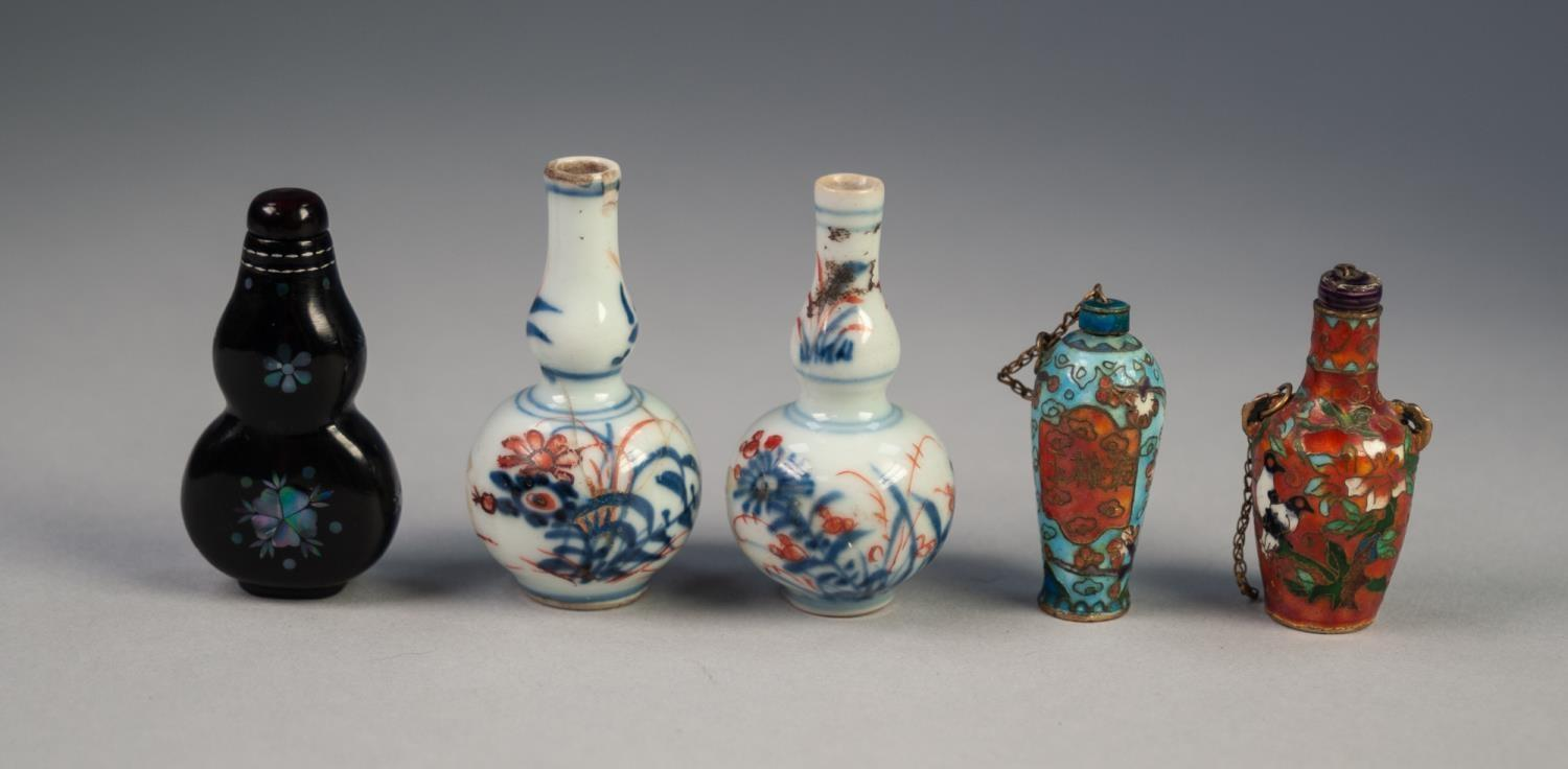 Lot 711 - TWO ORIENAL CLOISONNE ENAMEL SMALL SCENT BOTTLES, ovoid form, one having tall neck and decorated