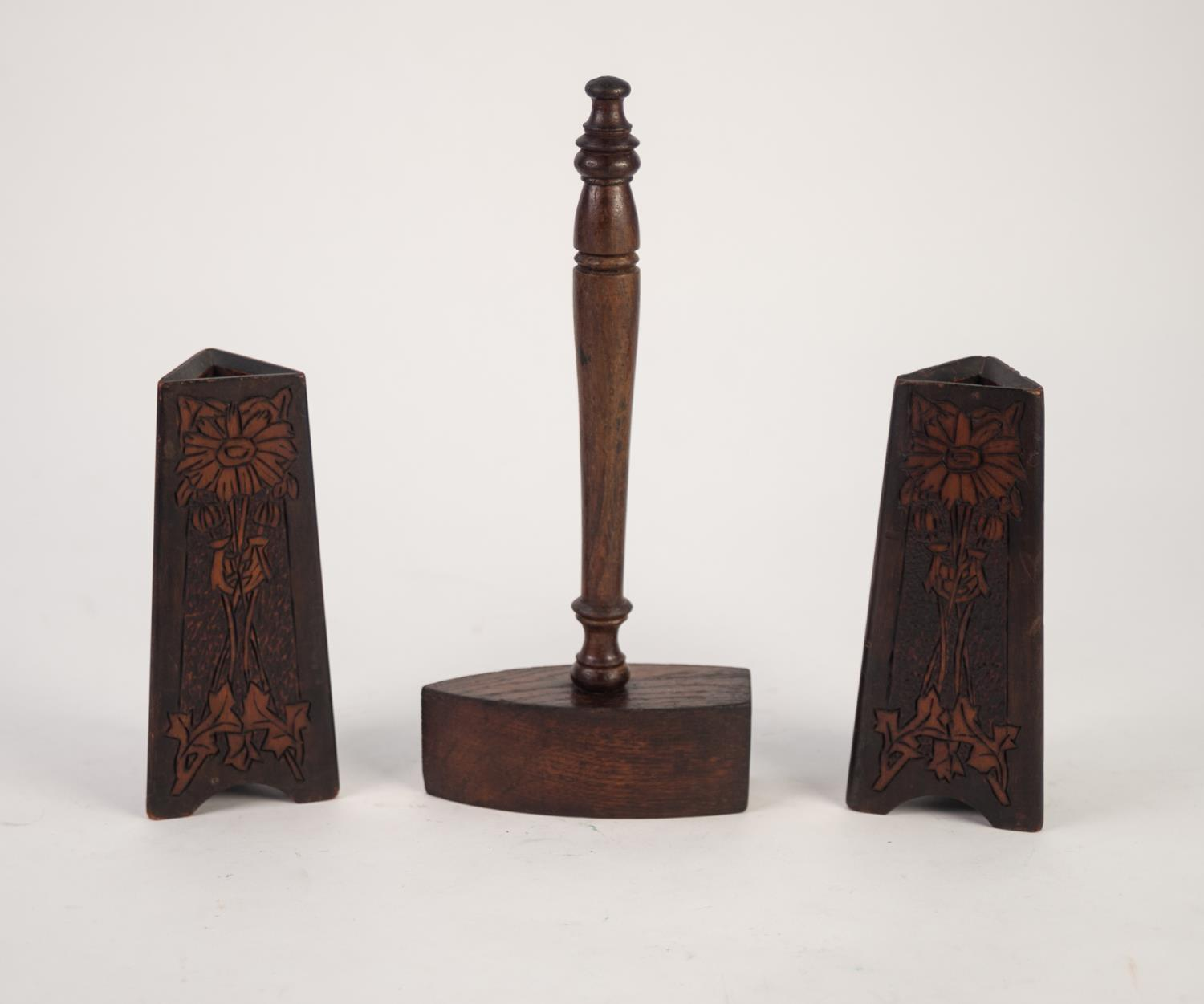 Lot 818 - LARGE HARDWOOD GAVEL with wedge shape top, a pair of poker work incised tapered triangular WOODEN