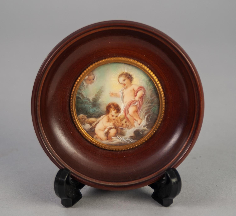 "Lot 883 - AFTER BOUCHER PORTRAIT MINIATURE 'Jesus Infant' circular 2 1/4"" diameter framed"