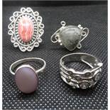 Job lot of 4x vintage silver dress rings 24g