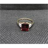 9ct gold and garnet diamond ring fully HM