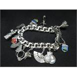 Spanish silver fancy link bracelet with Spanish themed charms 60g