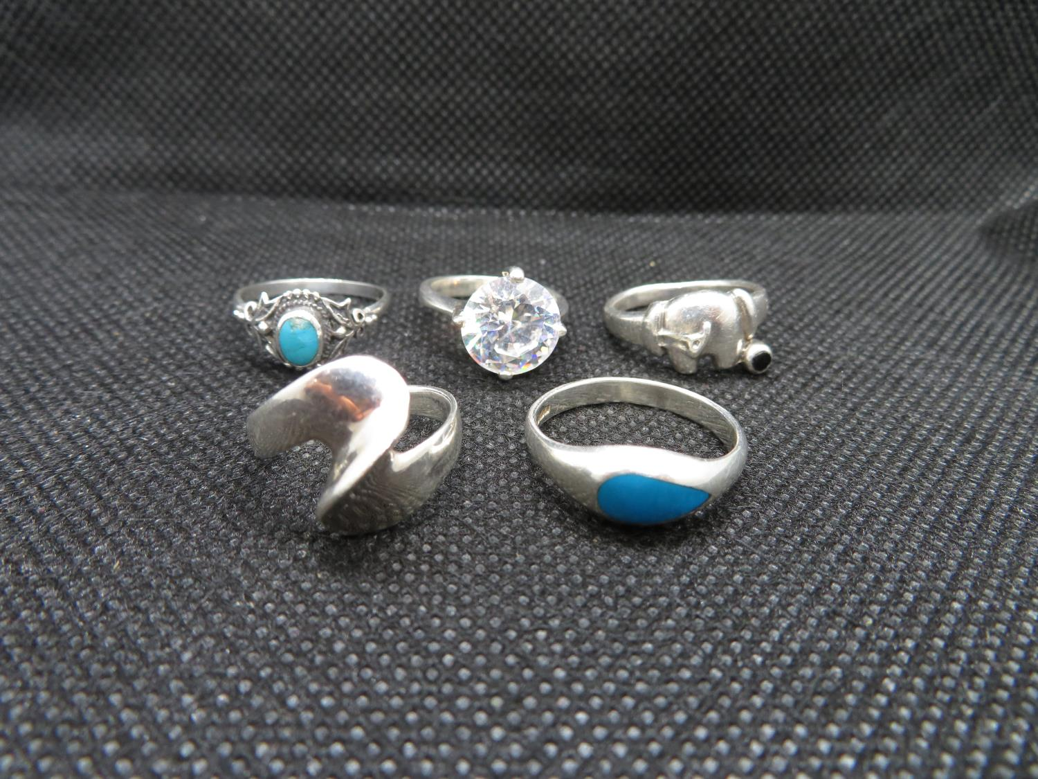 Job lot of 5x silver rings - small sizes 14g