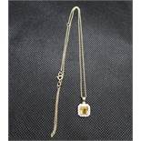 "9ct gold citrine and diamond pendant on 18"" 9ct gold chain"