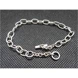 Silver bracelet with diamond set toggle fastener 7g