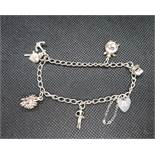Silver charm bracelet with 5 dainty charms HM London 1988 11g