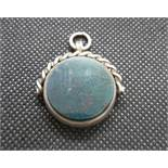 Victorian silver watch Albert Spinner fob set with bloodstone and carnelion by Patton Pepper and