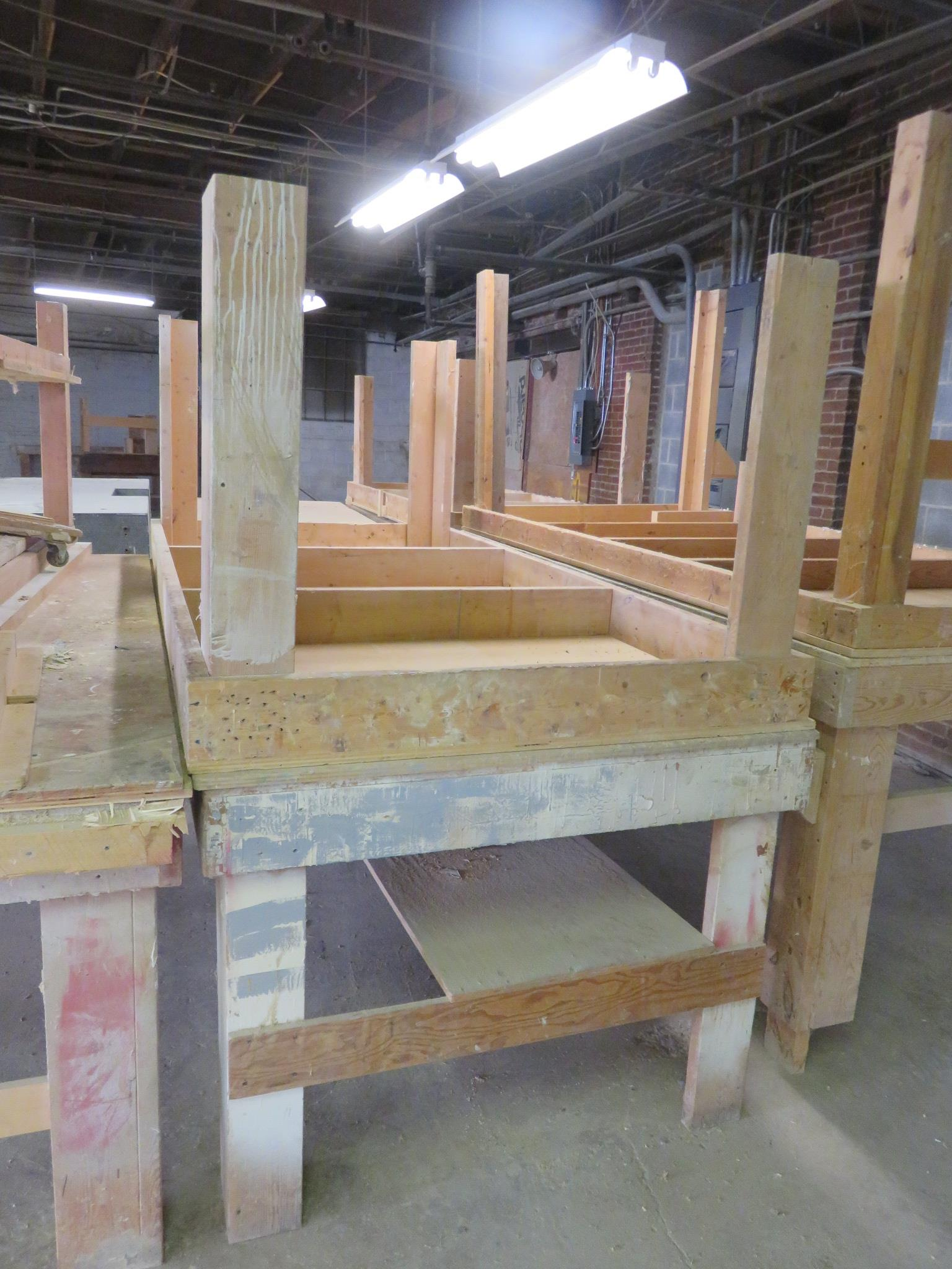 """Wooden Work Tables Heavy Duty Lot of 2 Approx. 96"""" x 48"""" x 36"""""""