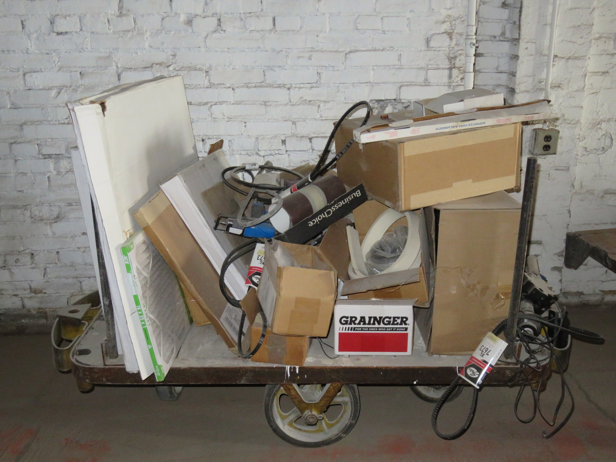 """Railroad Cart with Contents Cart measures approx. 57""""x 27""""x 14"""""""