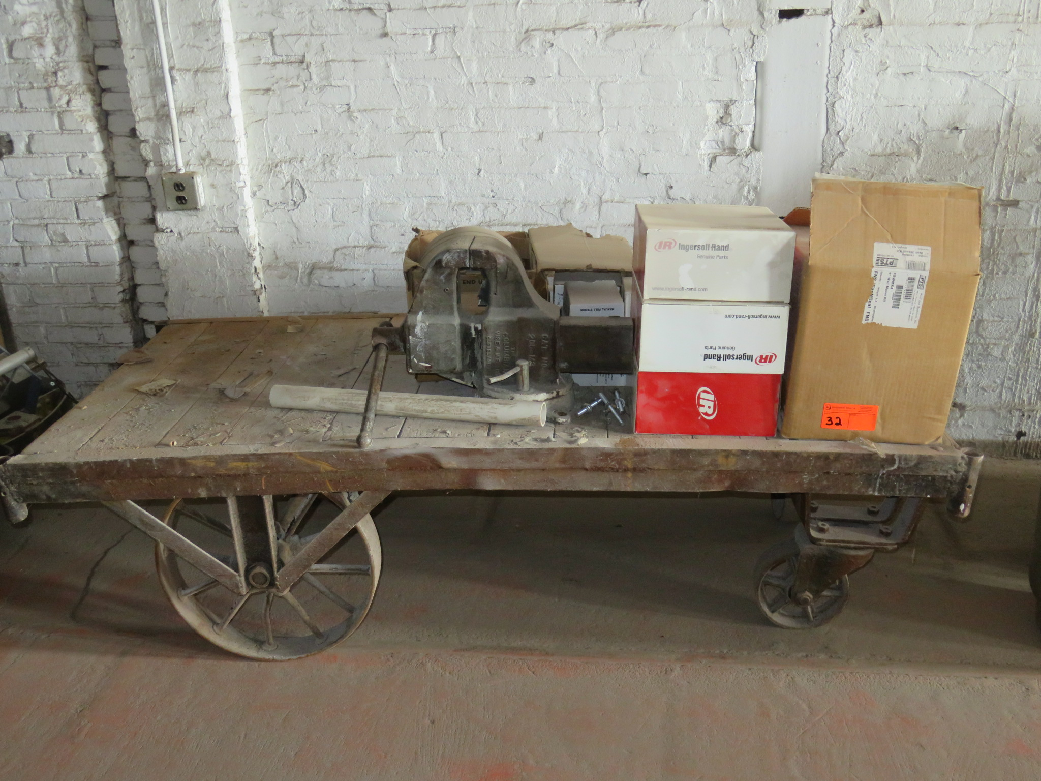 """Railroad Cart with Contents approx cart size 73""""x 36"""" x 19.5"""""""