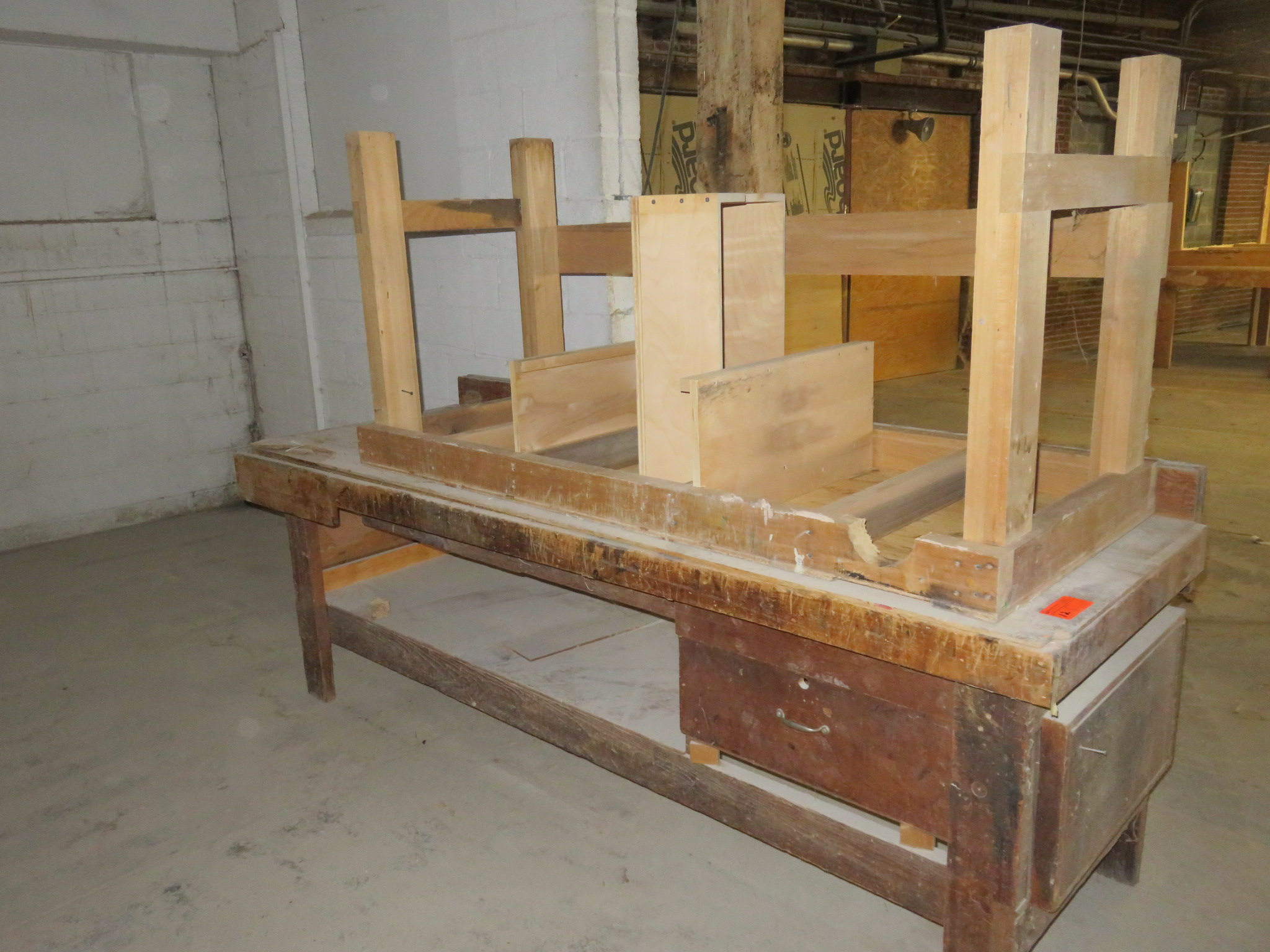 """Heavy Duty Wooden Work Tables Lot of 2 approx 96""""x 35""""x 34"""" & 72""""x 30""""x 35"""""""