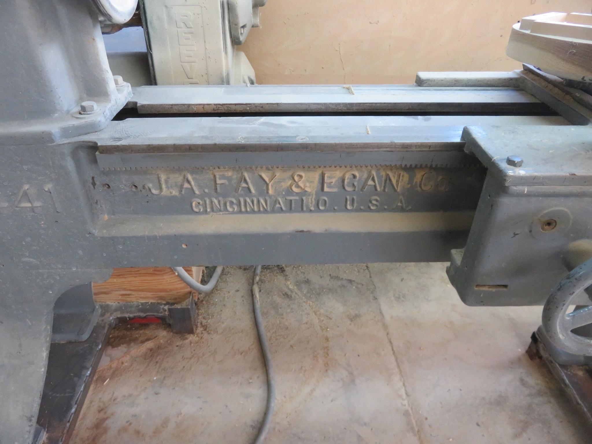 J.A. Fay & Egan Company 8' Lathe - Image 6 of 6