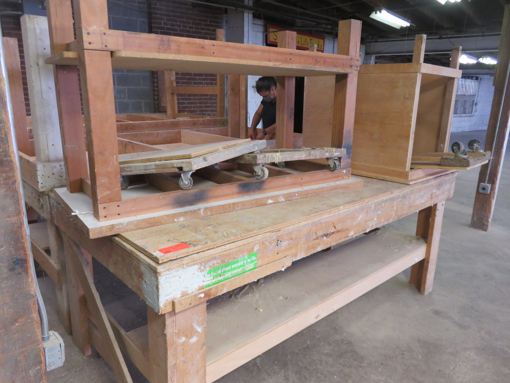 """Heavy Duty Wooden Work Tables Lot of 3 approx 96""""x 48""""x 36, 38""""x 32""""x 34"""" 60""""x 28""""x 36"""" - Image 3 of 4"""