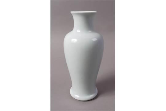 A Chinese Slender Baluster Shouldered Vase With Pale Duck Egg Blue